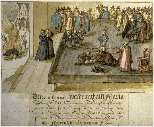 Dutch watercolour c1613, execution of Mary Stuart, Queen of Scots, on 8 Feb 1587 - Mary Queen Scots trial
