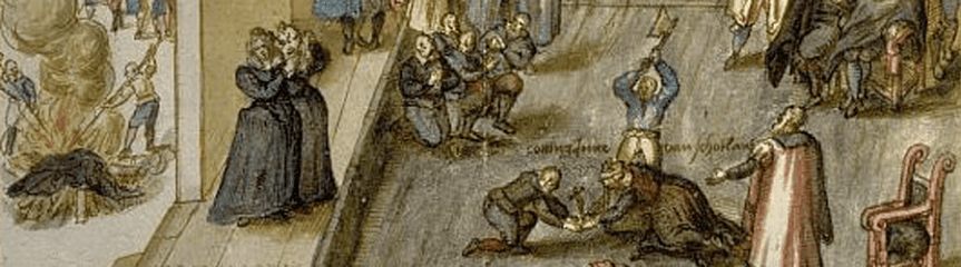 Banner - Dutch watercolour c1613, execution of Mary Stuart, Queen of Scots, on 8 Feb 1587 (detail)