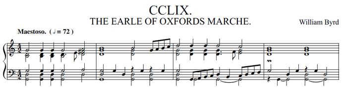 Banner - first line of score - William Byrd Oxford march