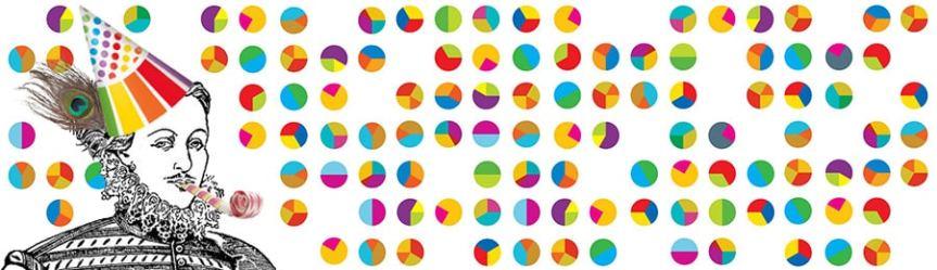 Banner - birthday with piecharts confetti - Shakespeare Authorship birthday survey