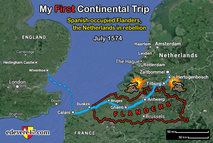 Route map of my first continental trip in 1574 - Flanders Gascoigne Spain Burghley