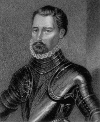 George portrait in armour - Flanders Gascoigne Spain Burghley