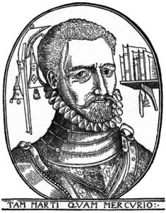 George woodcut portrait - Tam Marti Quam Mercurio - Flanders Gascoigne Spain Burghley