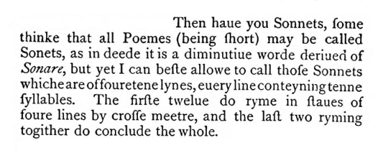 George Gascoigne's definition of sonnet - Shake-Speares Sonnets anniversary definition
