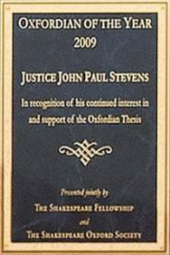 Plaque given to Oxfordian Supreme Court Justice Stevens
