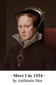 Mary Tudor 1554 detail by Anthonis Mor with caption - StAlbans portrait subject error