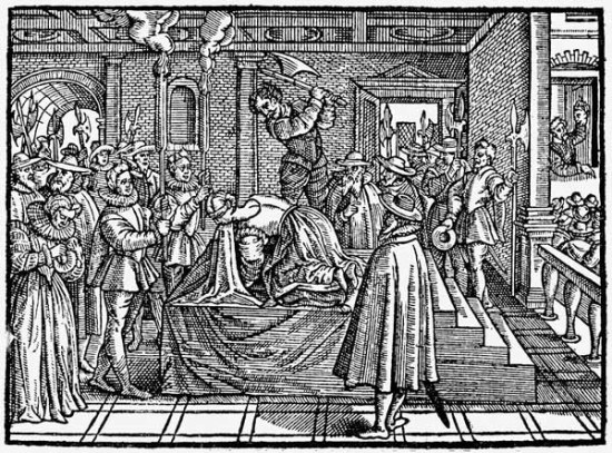 Very inaccurate French woodcut of execution of Mary Queen of Scots - Mary Queen Scots trial