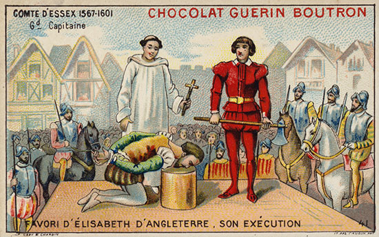 Essex gets the axe 1601 - chocolate bar card - execution anniversary
