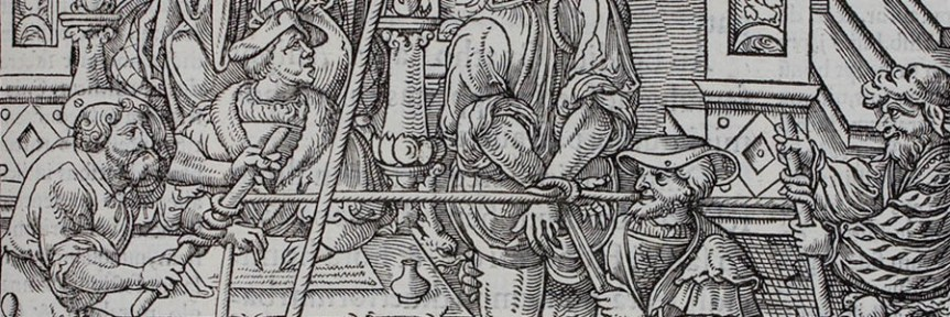 Banner - lawyers interrogating - Praxis criminis persequendi Paris 1541