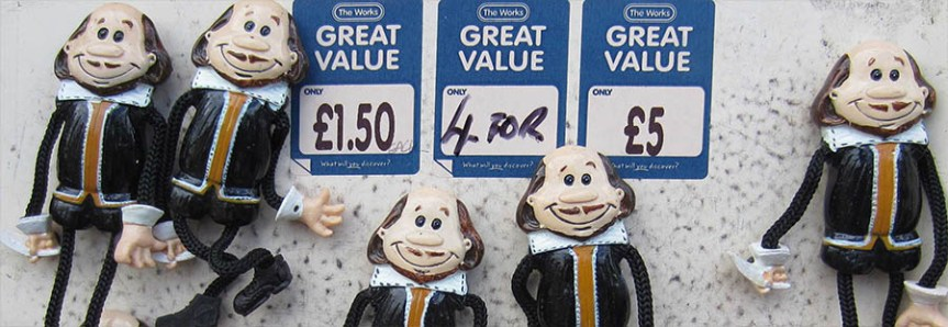 Banner - Willy dolls for sale in Stratford-upon-Avon 4 for £5 - limerick remarks Shakespeare death