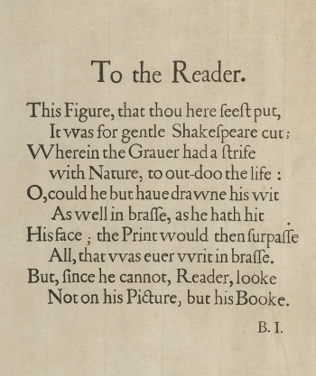 First Folio preface To the Reader by Ben Jonson - Jonson Folio introduction rewrite
