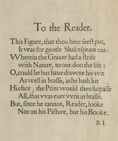 First Folio preface To the Reader by Ben Jonson - First Folio Droeshout engraver