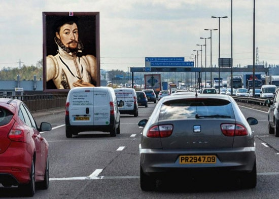 M5 in Birmingham with JdV billboard - StAlbans portrait subject error