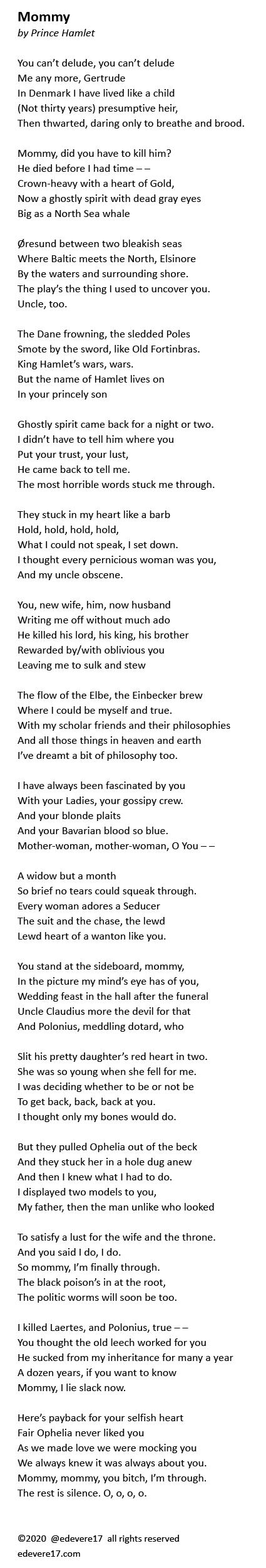Mommy Hamlet poem after Sylvia Plath Daddy