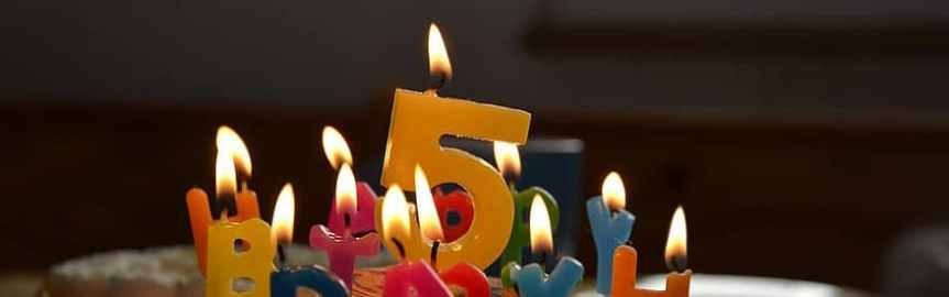 Banner - 5th birthday candles - birthday review Oxfordians future