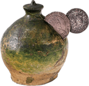 Tudor money pot - used to collect coins at public theatres - First Folio auction coronavirus