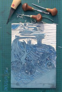 Carving the Lino cut