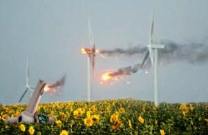 Depiction of Turbines Burning in Flower Field