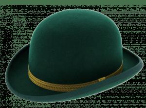chapeau melon vert en feutre