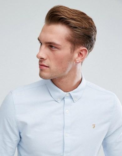 tenue homme chemise bleu Farah
