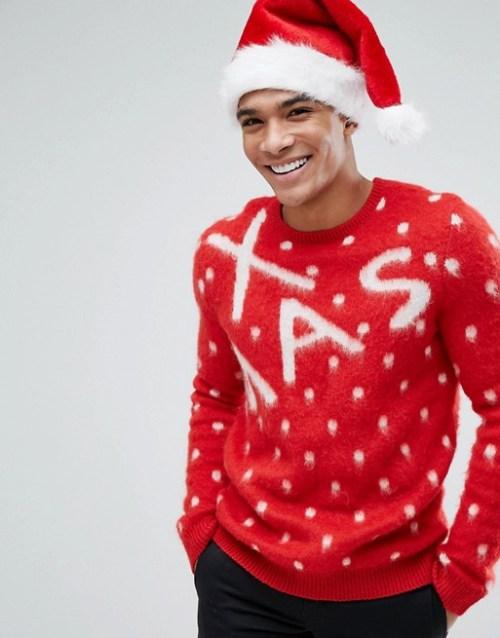 Pull de Noël rouge pour homme