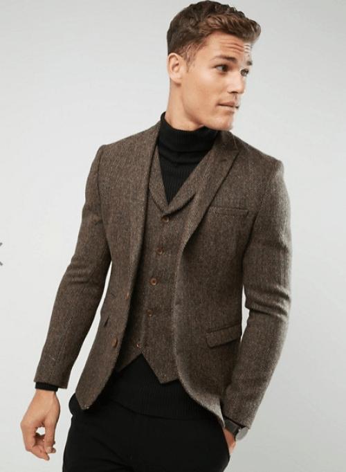 blazer marron à chevrons en laine