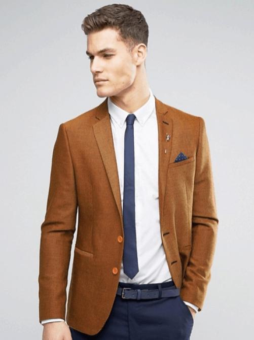 blazer fauve pour homme en laine mélangée