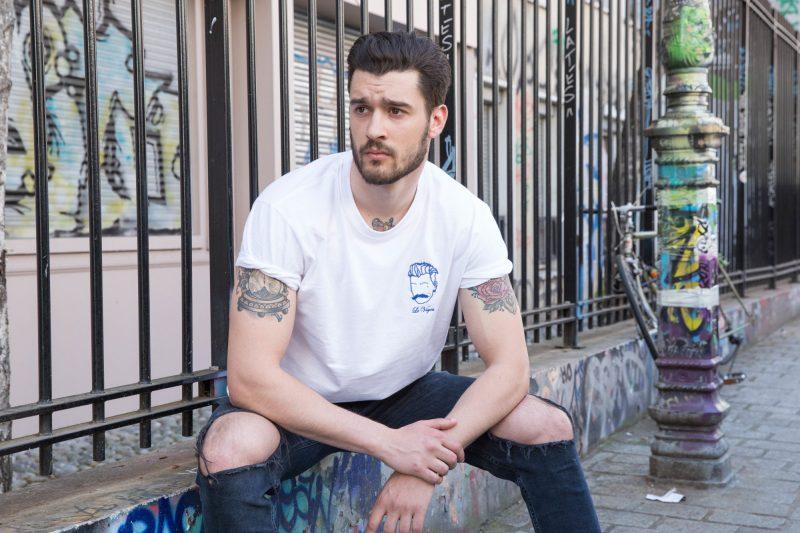 homme tee-shirt de créateur blanc brodé