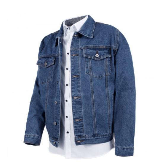 vêtements grande taille Veste en jean bleue Trucker