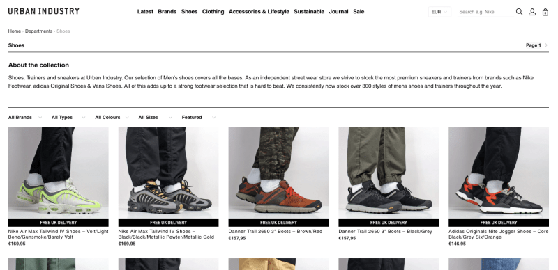 Urban Industry site de sneakers