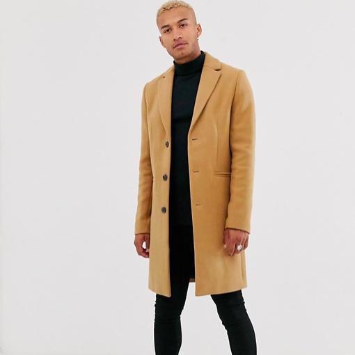 Hiver manteau long laine camel marron homme