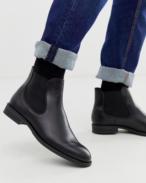 Boots bottines noires homme asos cuir Chelsea sélecte homme