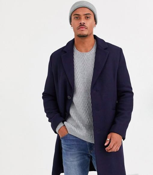 Manteau ASOS DESIGN en laine mélangée bleu marine long