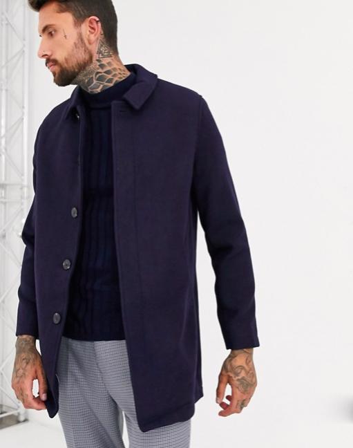 Manteau laine mélangée élégant bleu homme assos