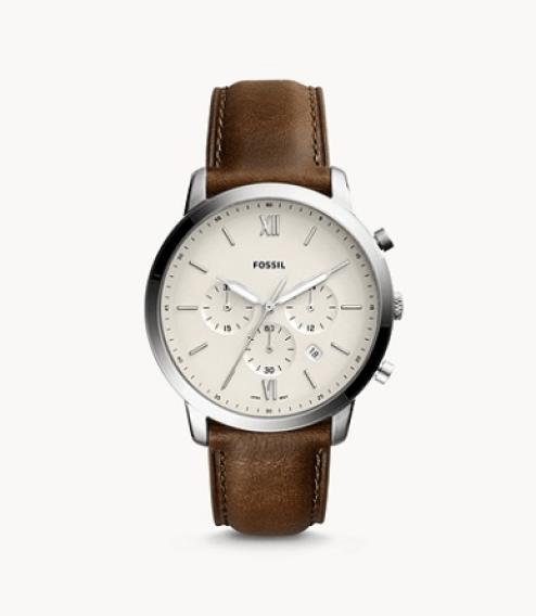 Montre homme bracelet cuir chronographe classique Fossil
