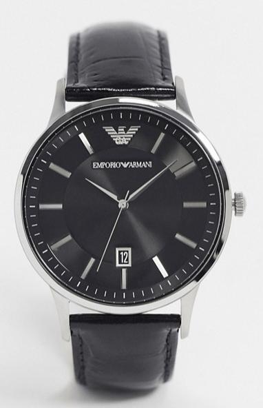 Emporio-armani-montre-cuir-noir-look-de-la-semaine