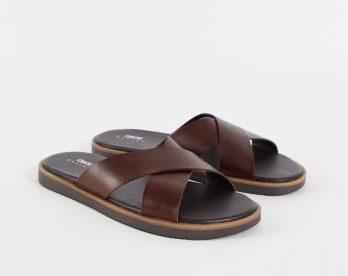 Imitation claquettes Hermès Sandales à lanières croisées en cuir ASOS DESIGN