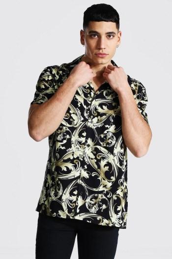 Chemise à manches courtes baroque Boohoo