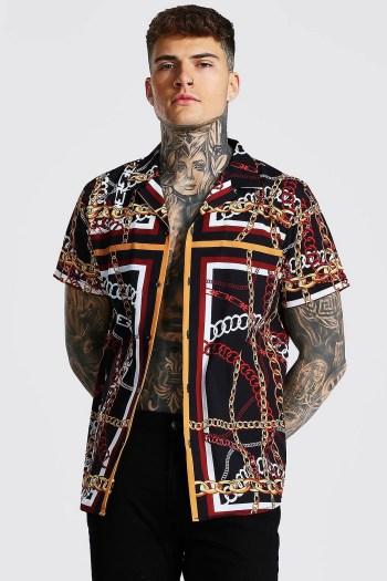 Chemise à manches courtes imprimé chaine Boohoo