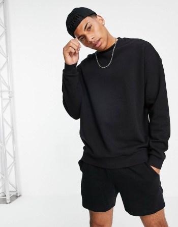 Sweat-shirt léger noir ASOS DESIGN