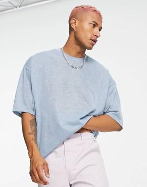 T-shirt oversize à manches longues effet lin bleu clair ASOS DESIGN