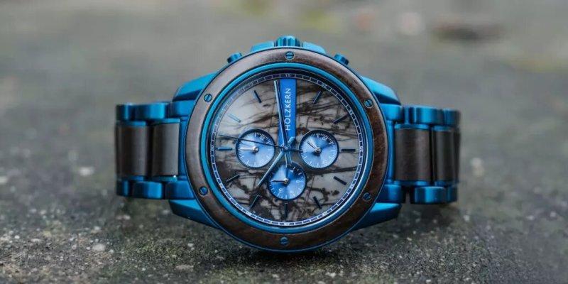 montre Holzkern bleu bois et marbre