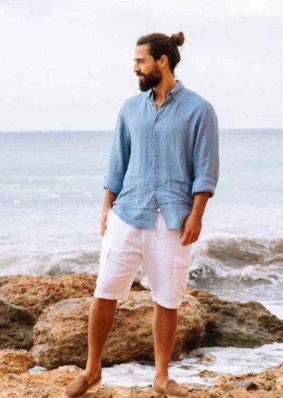 Comment s'habiller quand il fait chaud - Tenue en lin chemise et short
