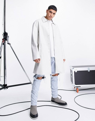 Trench coat long en imitation cuir ASOS DESIGN