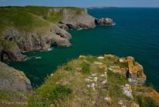 El color amarillo del liquen en la roca, provee a la foto de color durante la fuerte luz del mediodía en Manorbier.