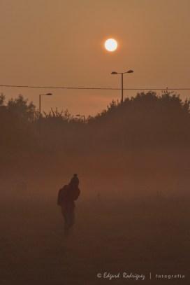 """Octubre: El otoño llegó con sus características largas y neblinosas mañana con el Sol en un ángulo bajo. En esta ocasión fuimos temprano a un último """"carboot sale"""" cerca de Abingdon, Oxfordshire, Inglaterra. En la foto Ha, esposa de mi cuñado, regresaba de tomar fotos de la particular vista. Su posición habla del frio que estaba haciendo esa mañana."""