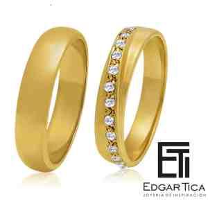Aros de boda de oro amarillo 18k