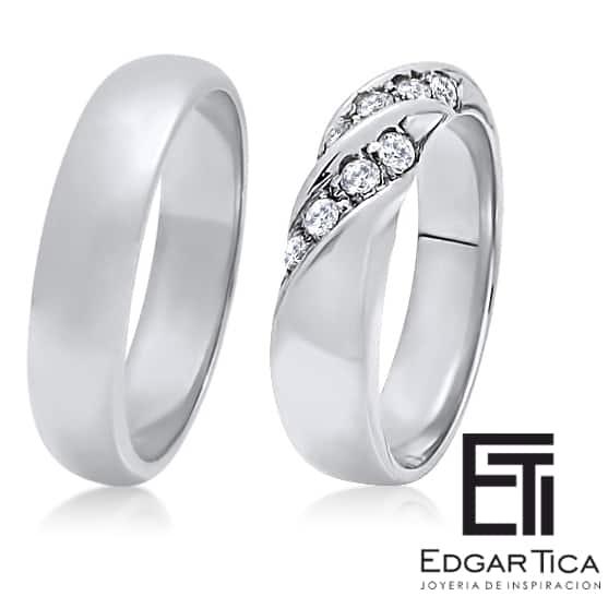 Aros de matrimonio de oro blanco 18k