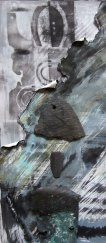 Detail of work in progress by Elaine Fraser. Printmaking, prepared papers, found objects. 25cm x 60cm.
