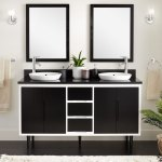 60 Bivins Double Bathroom Vanity For Semi Recessed Sink Black White Bathroom